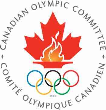 Canadian Olympic Committee Logo Featuring Olympic Flame Inside Maple Leafs and Olympic Rings Beneath