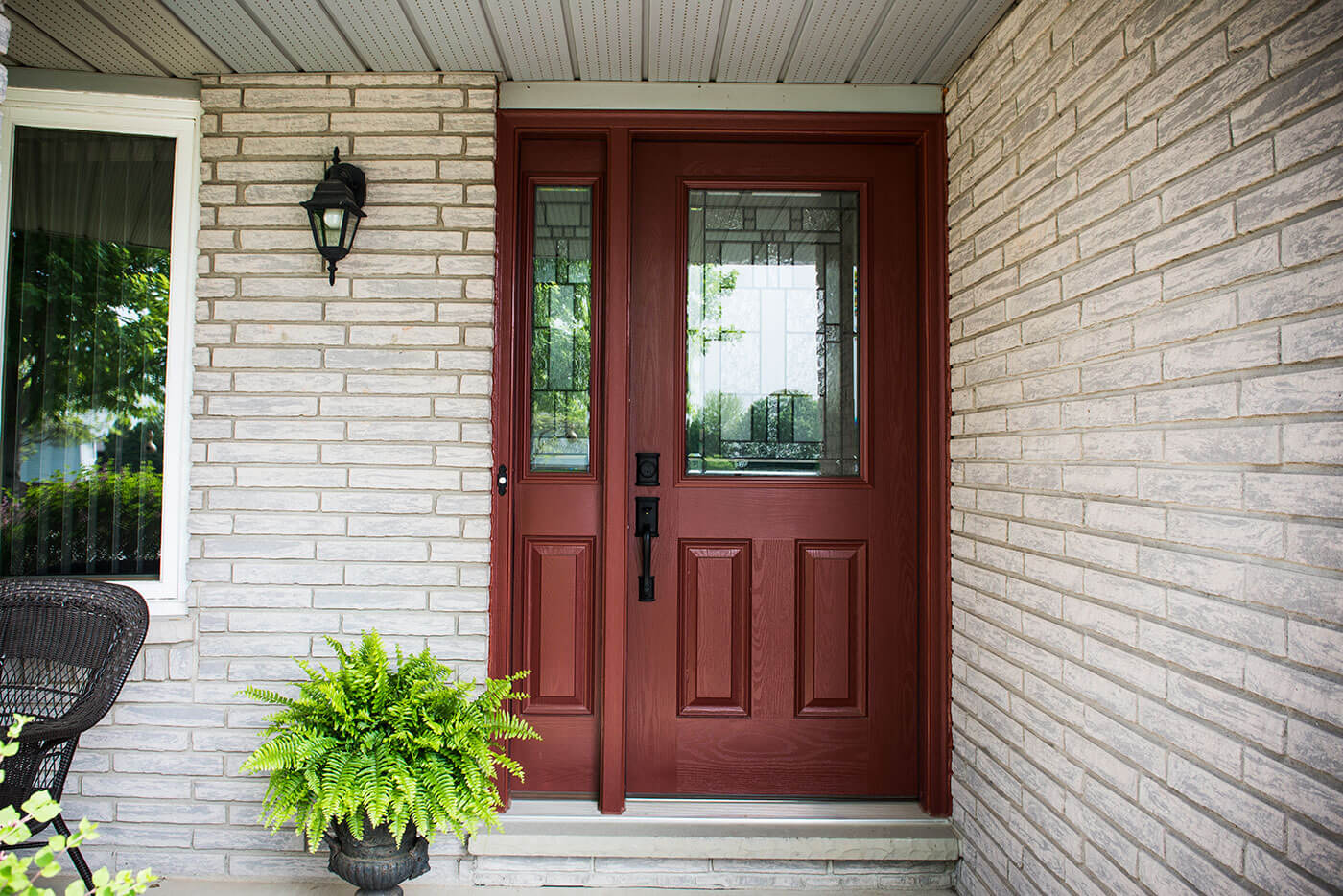 Close Up of Mahogany Fiberglass Entry Door System Custom Made for Front Porch Of Home & Fibreglass Doors - Energy Efficient Exterior Doors | Centennial