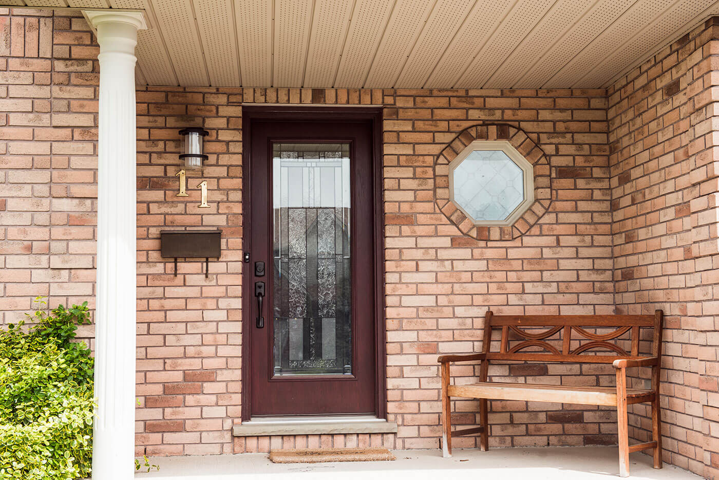 Close Up of Front Porch of Home With New Custom Made Fibreglass Entry Door System