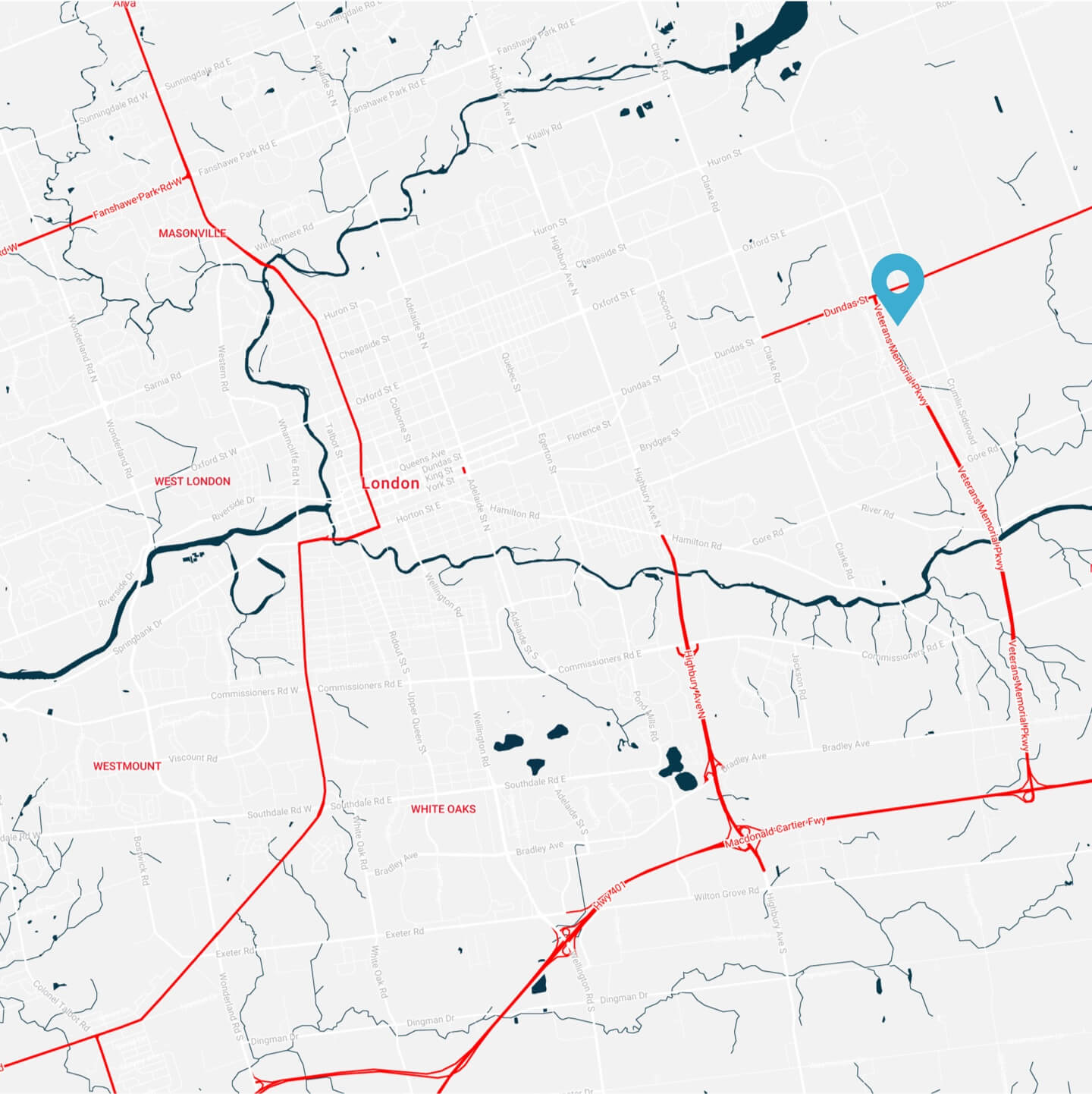 Map Depicting Location of Centennial Windows and Doors London Ontario Location