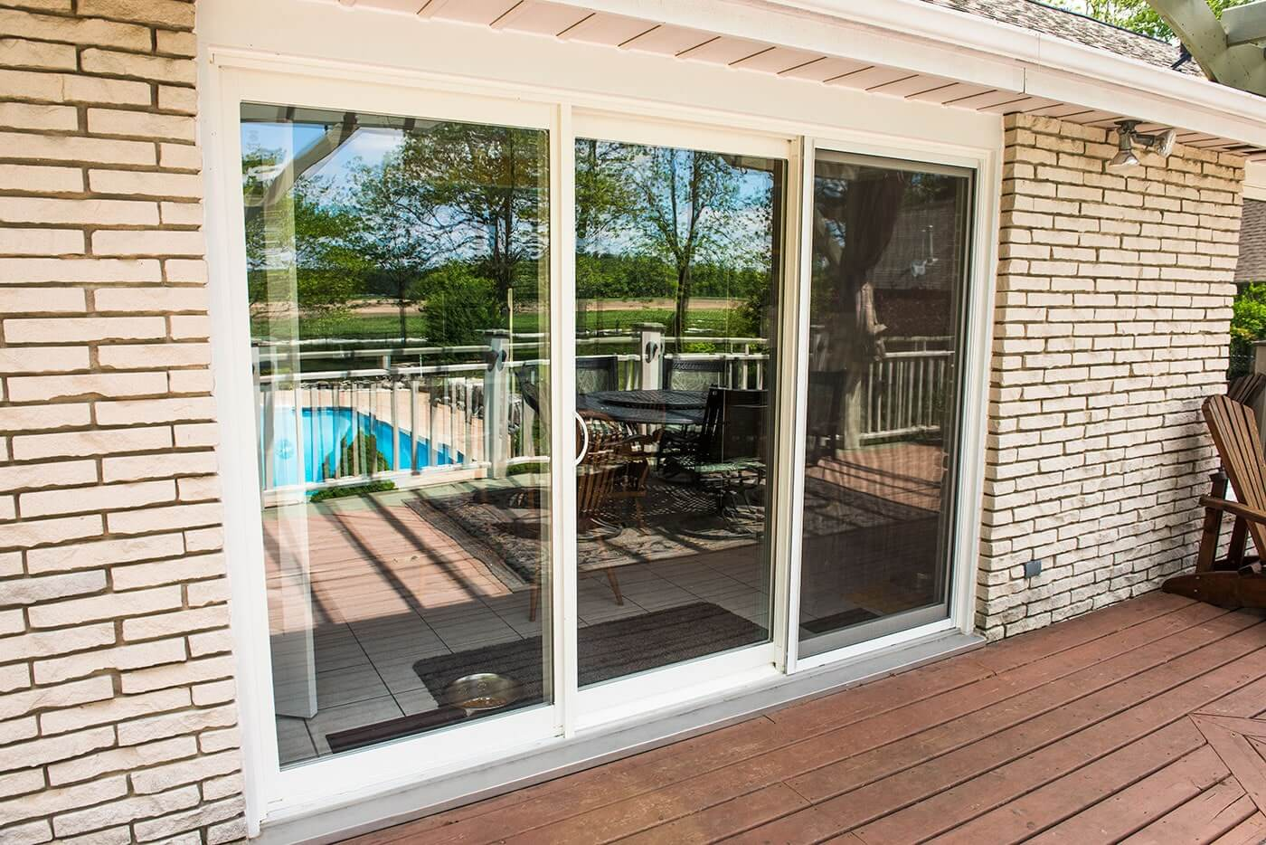 Sliding Glass Patio Doors With White Trim Custom Manufactured For Bungalow  Home