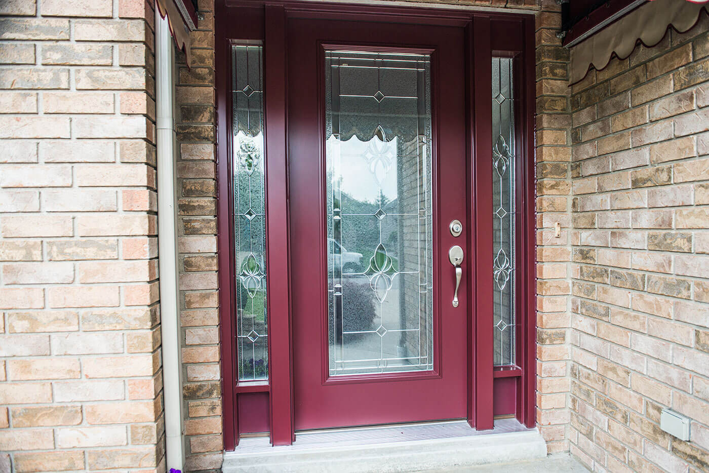 Custom Made Steel Entry Door System In Dark Red Colour and Custom Window Design