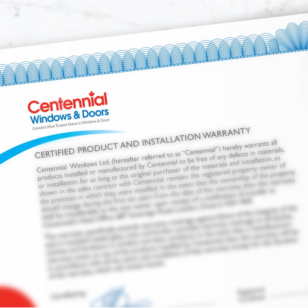 Centennial Windows and Doors Certified Product And Installation Warranty Document  sc 1 st  Centennial Windows u0026 Doors : centennial doors - pezcame.com